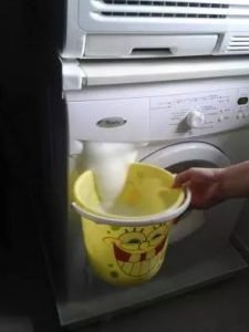zeepbak wasmachine lekt